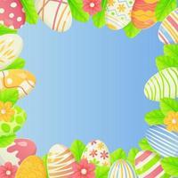 quadratischer Frühlings-Osternhintergrund mit Kopienraum-Eiern verziert Blumen und Blätter, die an den Rändern auf blauem Hintergrund begrenzt werden vektor