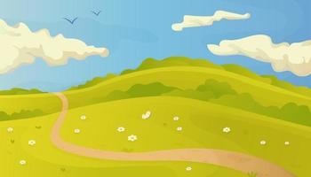 helle Sommervektorlandschaft mit Spur im Gras und in den Wolken auf blauem Himmel vektor