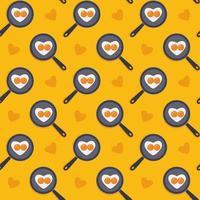 Cartoon süße nahtlose gelbe Muster Herzform Spiegeleier auf der Pfanne Valentinstag Konzept Ostern Urlaub Tapete oder Hintergrund Lager Vektor-Illustration in flachen Stil vektor