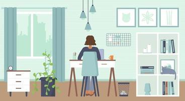 Afroamerikanerfrau, die hinten mit Laptop zu Hause mit Maske sitzt gemütliches Innenheimbüro zu Hause arbeitet freiberuflich Fernarbeit Online-Bildung Quarantäne covid 19 Konzept Lager Vektor