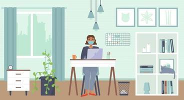 Afroamerikanerfrau sitzt mit Laptop zu Hause mit Maske gemütliches Interieur Home Office arbeitet zu Hause freiberufliche Fernarbeit Online-Bildung Quarantäne covid19 Konzept Lager Vektor-Illustration vektor