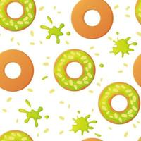 süße Pistazien bunt gebackene glasierte Donuts oder Donuts mit Nüssen nahtloses Muster mit Streuseln und Spritzern in flachem Stil vektor