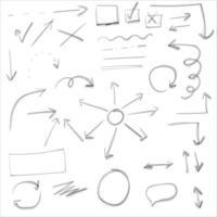 Satz von Doodle-Linien Pfeile Kreise und Kurven vektor
