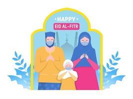 glückliche muslimische Eltern und Kind beten auf religiösen Feiertagsfiguren auf Karikaturflachvektor vektor