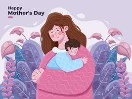 glad mammadagsillustration med mamma som kramar sitt barn med stor tillgivenhet och kärlek. mor som håller baby son i armar hälsning glad mors dag lämplig för banner gratulationskort vykort banner affisch inbjudan tryck vektor