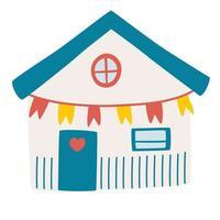 niedliche Strandhütte Fischerhaushüttenfassadenkonzept der Sommerferien in der Surfhouse-Strandhütte mit Flaggenvektorillustration in einem flachen Stil vektor