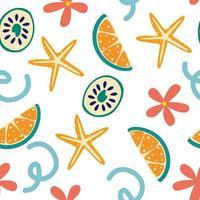 nahtloses Sommermuster mit Zitronenscheiben und Blumen Sommer lebendiges Design exotische tropische Frucht frische Limette Seestern und Blumen ganze Zitronenscheibe Vektor-Illustration in einem flachen Stil vektor