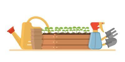 Zusammensetzung mit Gartenwerkzeugen isoliert auf weißem Hintergrund Bündel von Geräten für landwirtschaftliche Arbeit Pflanzenanbau oder Transplantation Arbeit in Garten Vektor-Illustration vektor