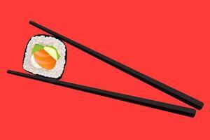 Vektor Essstäbchen halten Sushi-Rolle