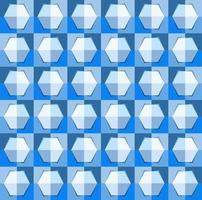 Dies ist ein polygonales blaues geometrisches Schachbrettmuster mit einem hellen Sechseck vektor