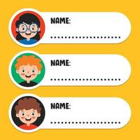 Namensschilder für Schulkinder vektor