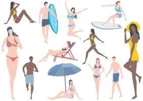 flache Illustration des Vektors gesetzt mit jungen Frauen und Männern in Badeanzügen lokalisiert auf einem weißen Hintergrund vektor