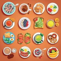 Frühstücksgeschirr orange Set Vektor-Illustration vektor