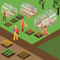 Farm isometrische Hintergrund Vektor-Illustration vektor