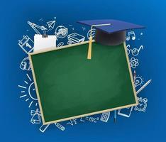svarta tavlan med examen keps banner med kopia utrymme vektor