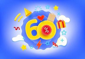 60 Prozent Einkaufsrabatt Illustration vektor
