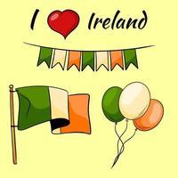 Irland ist gestrandet Flagge Flaggen Ballons Cartoon-Stil vektor