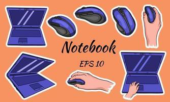 tragbare Computermaus für den Computer in der Hand für Heim- und Büroarbeit im Cartoon-Stil vektor