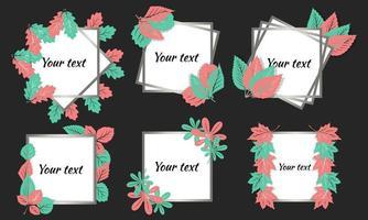 Rahmen für Textrahmen-Design mit Blättern können Sie Ihre eigenen Texteinladungen Postkarten-Cartoon-Stil schreiben vektor