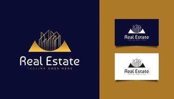 Immobilienlogo in Goldverlauf mit Linienstil vektor