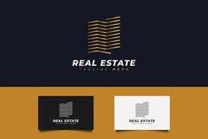 abstraktes Immobilienlogo mit Goldverlauf im Linienstil vektor