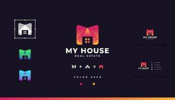 Anfangsbuchstabe m Logo mit Hauskonzept im orangefarbenen Farbverlauf vektor