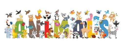 samling av roliga tecknade djur vektor