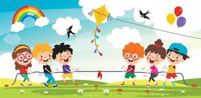 lustige Kinder spielen Seil ziehen. lustige Kinder spielen Seil ziehen vektor