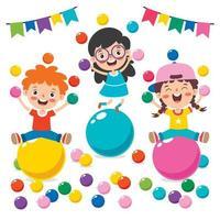 lustige Kinder, die mit bunten Bällen spielen vektor