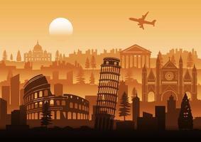 Italien berühmter Wahrzeichenschattenbildstil mit Reihenentwurf auf Sonnenuntergangszeit vektor