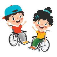 lustige Karikatur behinderte Kinder posieren vektor