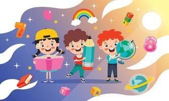Bildungskonzept mit lustigem Schulkind vektor