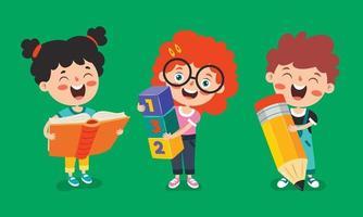 Bildungskonzept mit lustigen Schulkindern vektor