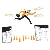 Geschäftsmann springt über die Klippe vektor