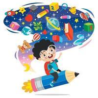 lustiges Kind, das auf buntem Bleistift fliegt vektor