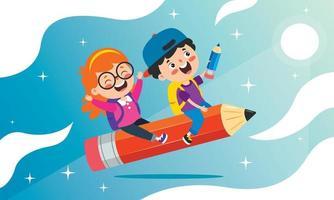 lustige Kinder, die auf buntem Bleistift fliegen vektor