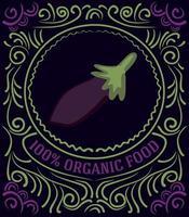 Vintage-Label mit Auberginen und Schriftzug 100 Prozent Bio-Lebensmittel vektor
