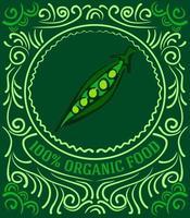 Vintage-Label mit Erbsen und Schriftzug 100 Prozent Bio-Lebensmittel vektor