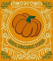 Vintage-Label mit Kürbis und Schriftzug 100 Prozent Bio-Lebensmittel vektor