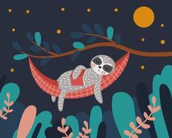 süßes Faultier schläft in einer Hängematte mit einem Buch in den Händen Nacht im Wald der Baum und Blätter vektor
