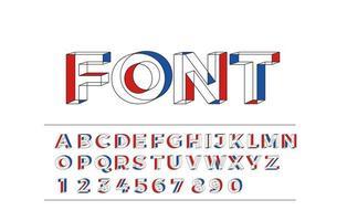 3D geometrisches Alphabet Schriftart Buchstaben Zahlen und Symbole vektor