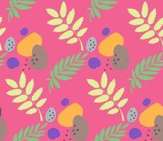 abstraktes nahtloses Muster mit Blättern und Klecksen vektor