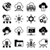 Packung Daten herunterladen Glyphen-Symbole vektor
