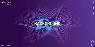 Hintergrundlinien-Wellenlinienentwurf der abstrakten Musik in den blauen und lila Farbverlaufsfarben vektor