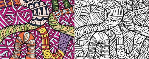 Doodle Zentangle Design Malbuchseiten für Erwachsene Therapiemuster und Kinder Anti-Stress vektor