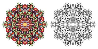 Doodle Zentangle Mandala Design Malbuchseiten für Erwachsene Therapiemuster und Kinder Anti-Stress vektor