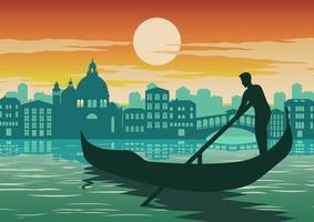 Gondoliere in Venedig bei Sonnenuntergang vektor