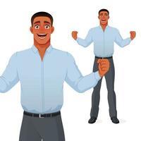 aufgeregter schwarzer Geschäftsmann, der Erfolg mit Cartoon-Vektorfigur der erhabenen Hände feiert vektor