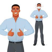 schwarzer Mann, der Daumen hoch Karikaturvektorfigur zeigt vektor