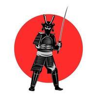 Samurai hält Schwert vor rotem Kreis vektor